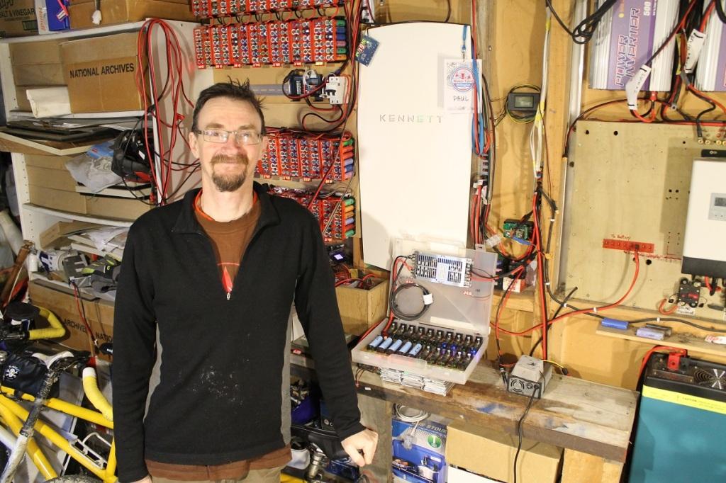 Paul Kennett in workshop with the Kennett powerwall